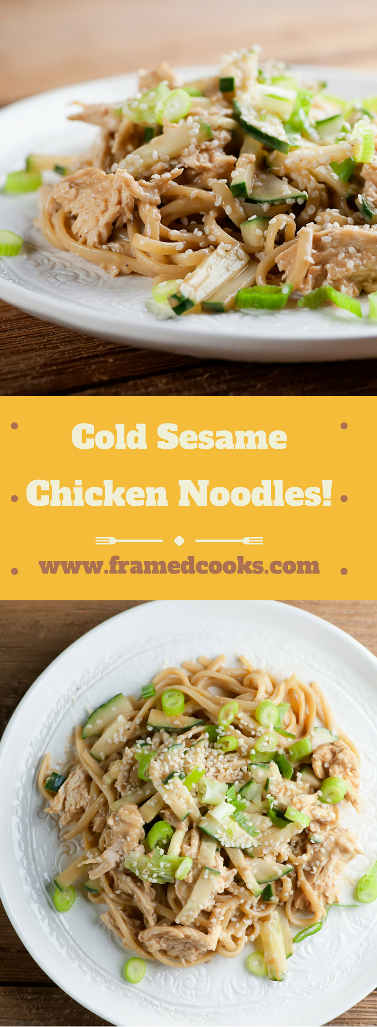 This easy recipe for cold sesame chicken noodles is the perfect one dish supper, with the perfect blend of peanut and sesame flavored sauce.