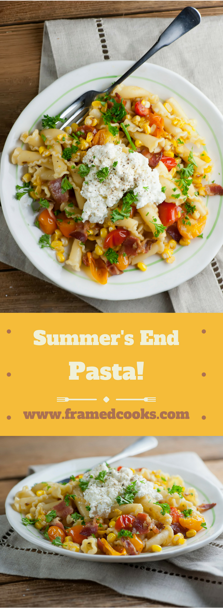 Celebrate the last lazy hazy days with this easy recipe for summer's end pasta, filled summer vegetable flavors of fresh local tomatoes, corn and herbs!