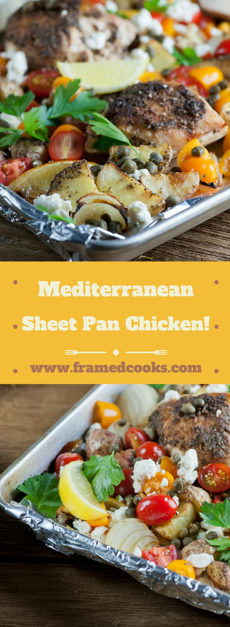 Take your chicken dinner to exotic places with this easy recipe for Mediterranean sheet pan chicken, full of herbs and spices and a little feta cheese!