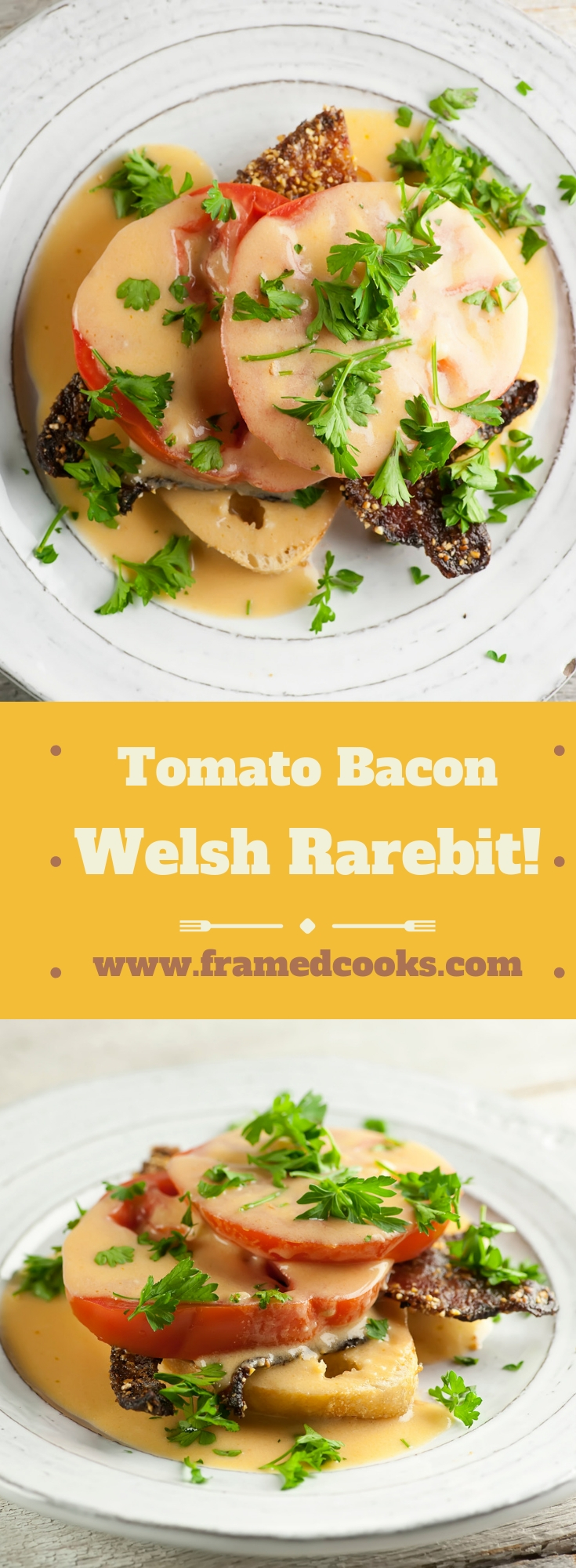 This classic dish of bread with melted cheese (also known as Welsh Rabbit) gets a flavor boost with this easy recipe for tomato and bacon Welsh Rarebit!