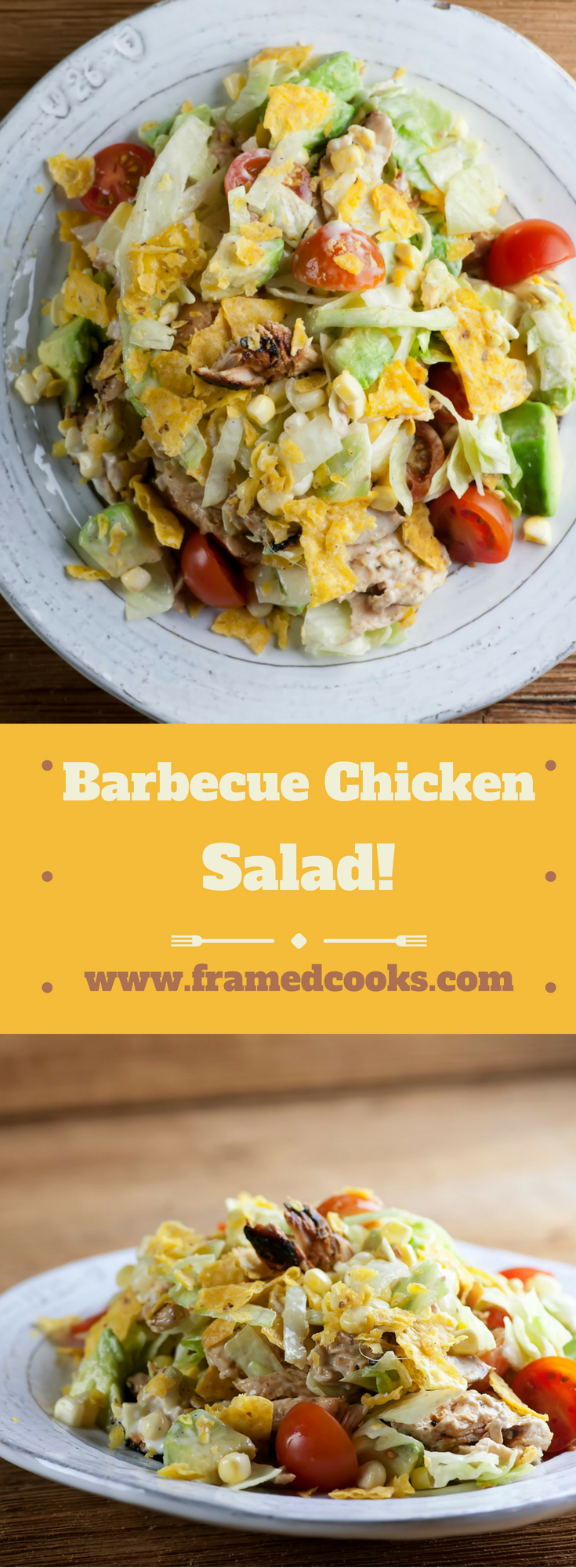 This easy barbecue chicken salad recipe features the great flavors of grilled chicken with summer veggies and a tangy ranch dressing!