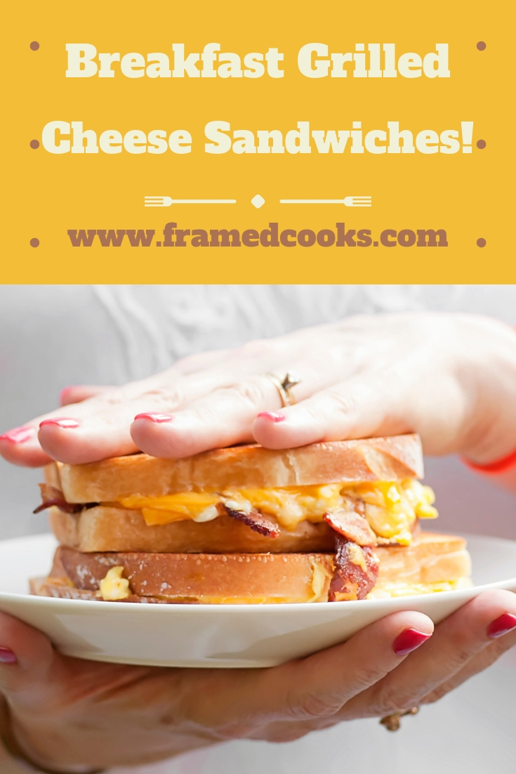 This easy breakfast grilled cheese sandwiches recipe features bacon, eggs and cheese, but in a delicious grilled cheese sandwich format.  Perfect for lunch too!