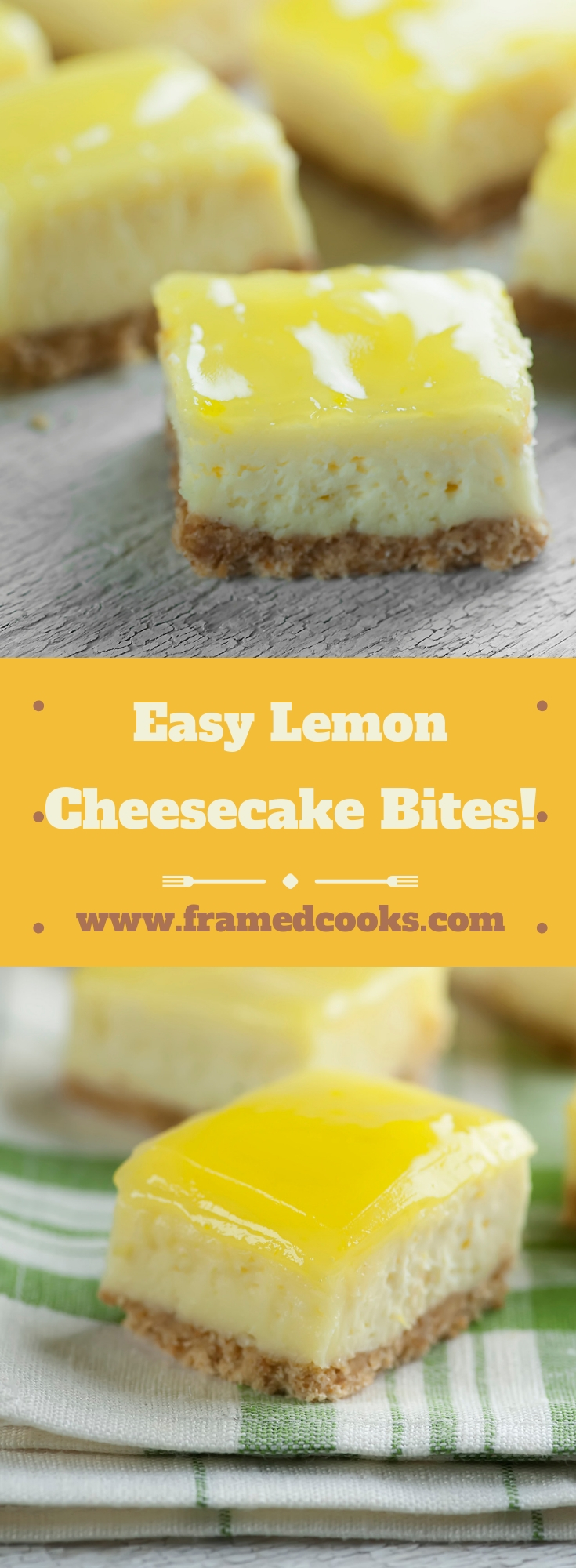 This easy mini lemon cheesecake bites recipe is full of creamy cheesecake and sparkling lemon flavor, in a fun bite-sized serving.  Bet you can't eat just one!