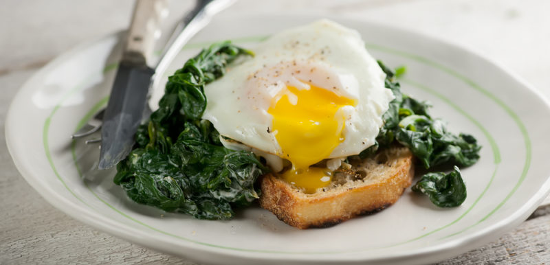 Eggs Florentine with Goat Cheese