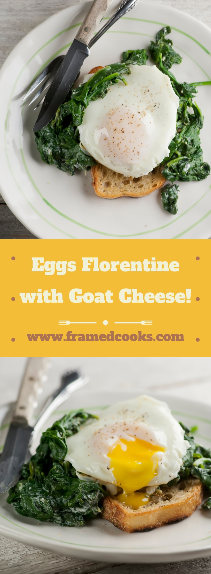 This easy recipe for eggs Florentine with spinach and goat cheese adds some creamy cheesiness to this classic breakfast and brunch favorite!