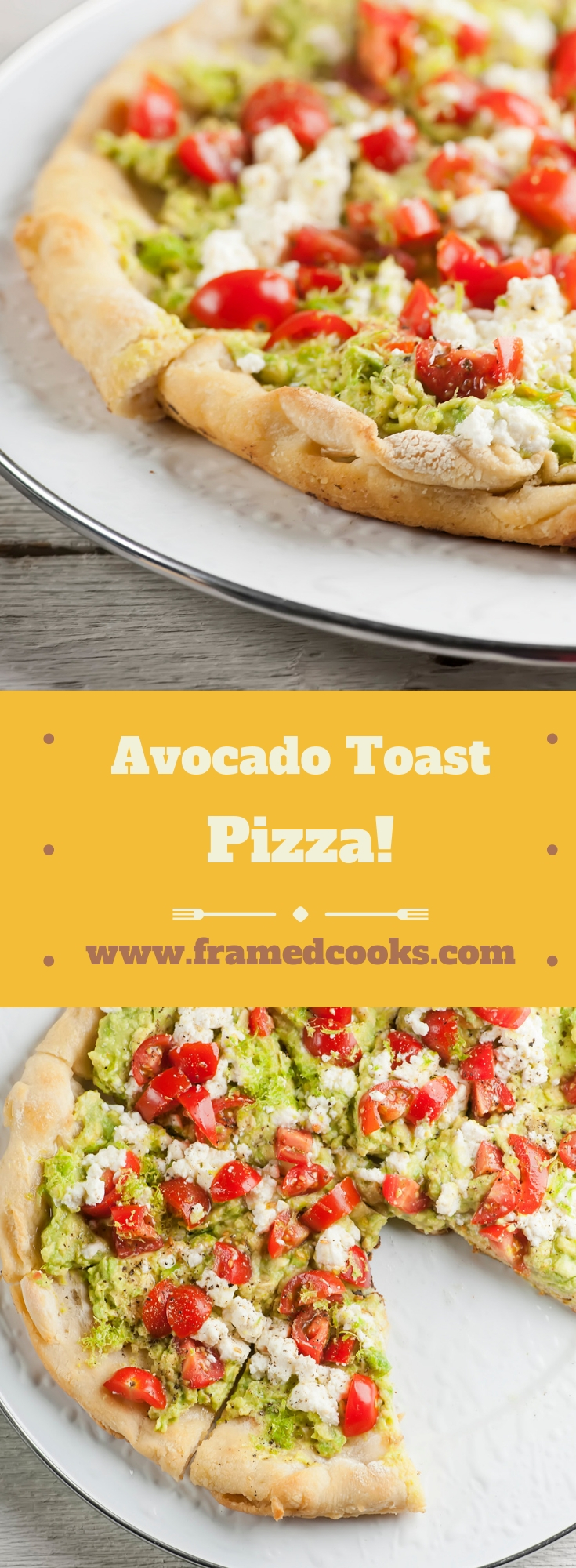Love avocado toast?  Then you are going to adore this easy recipe for avocado toast pizza with chopped tomato, cheese and a hint of lemon flavor!