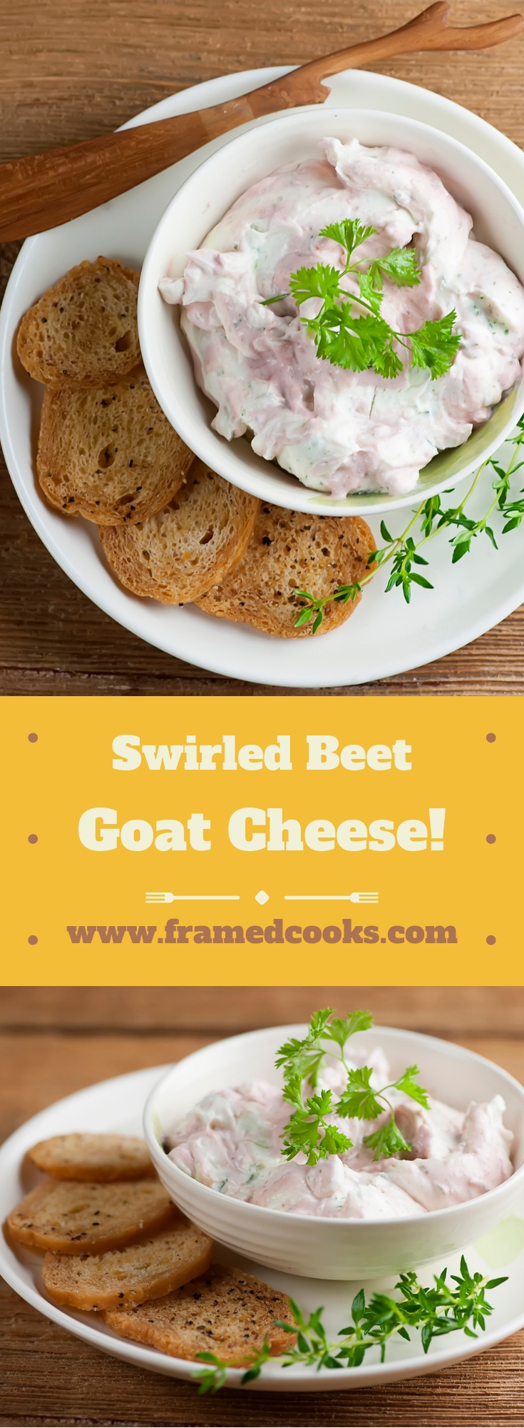 This easy recipe for swirled beet goat cheese makes a festive appetizer that is perfect for the holidays, your next dinner party, or a simple snack!