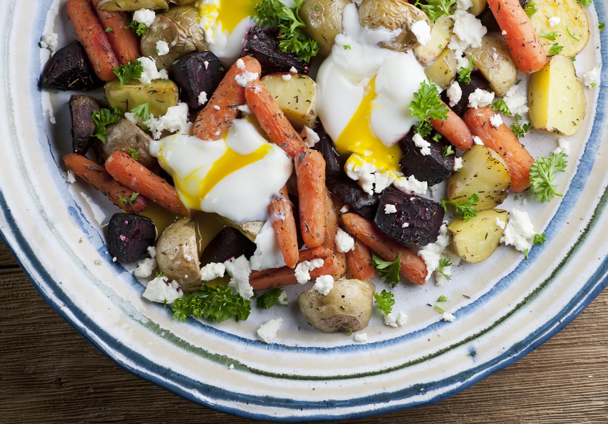 egg salad with roasted vegetables