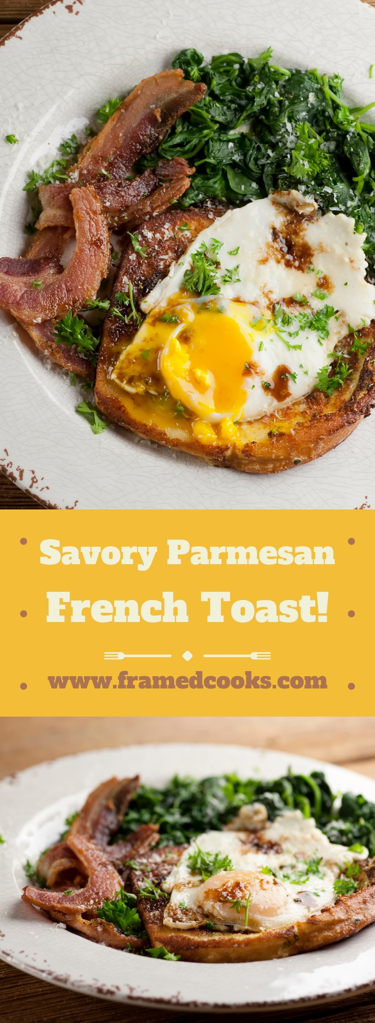 This easy recipe for savory parmesan french toast turns this sweet breakfast favorite into a cheesy, hearty, bacon filled treat that is also perfect for supper!