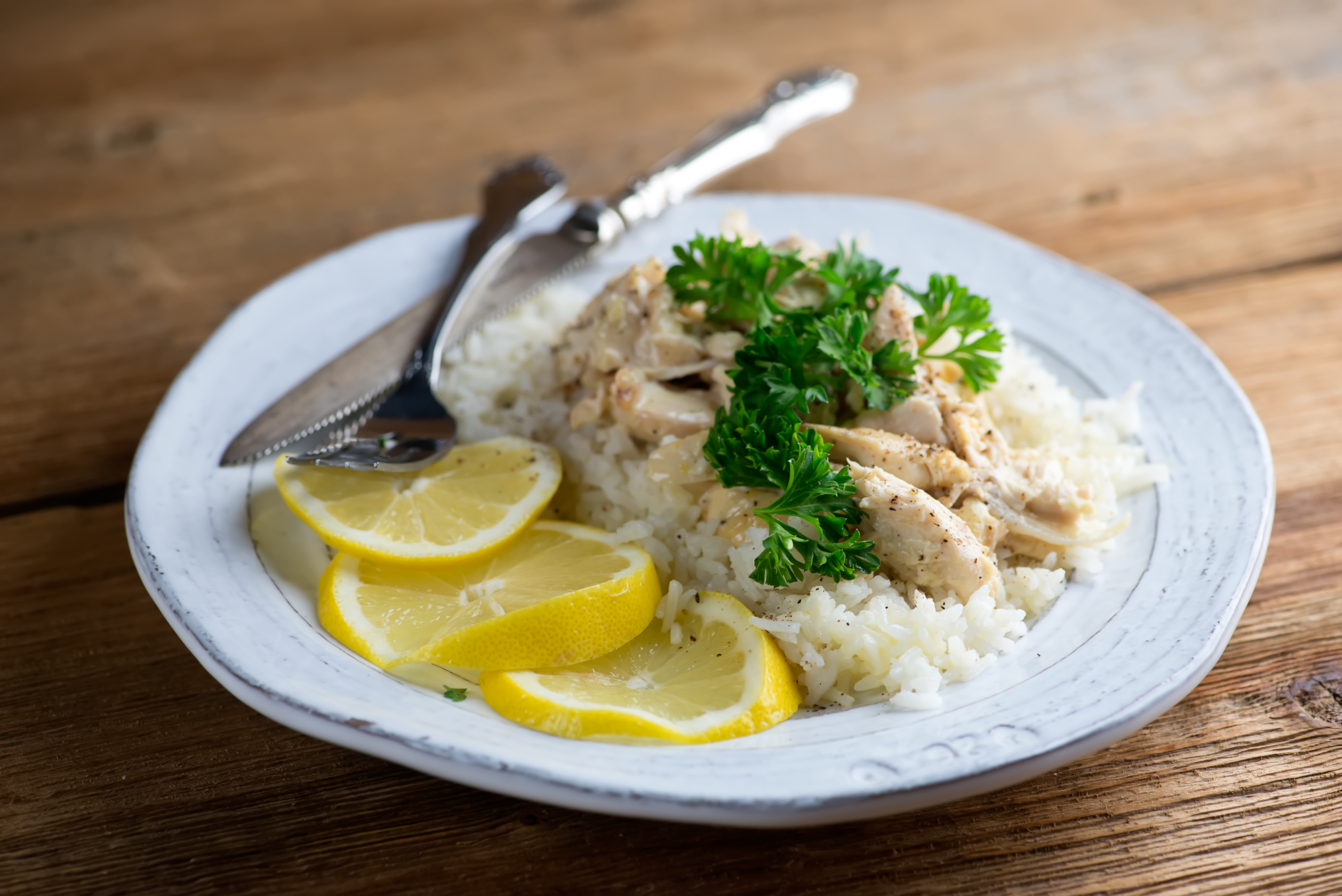 lemon buttered chicken with rice