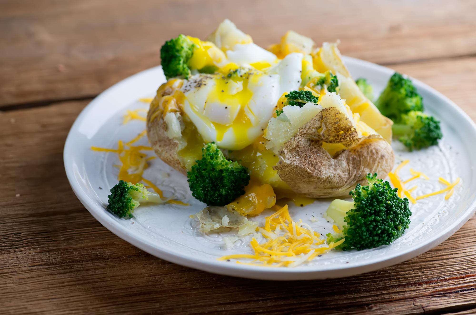 Broccoli, cheese and egg baked potato