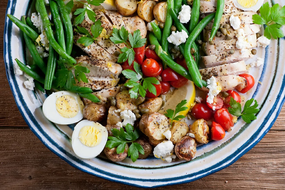 sheet pan chicken nicoise salad
