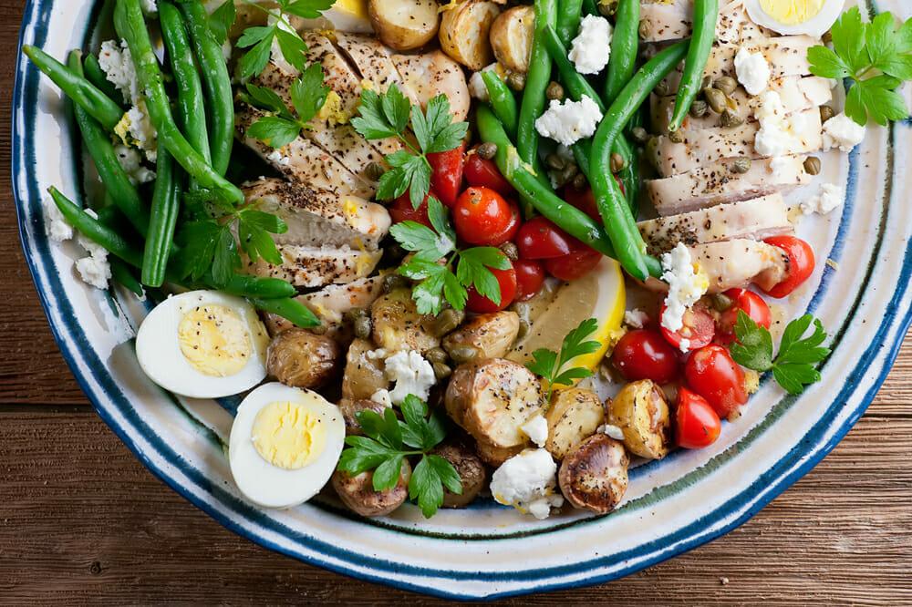 sheet pan chicken nicoise salad
