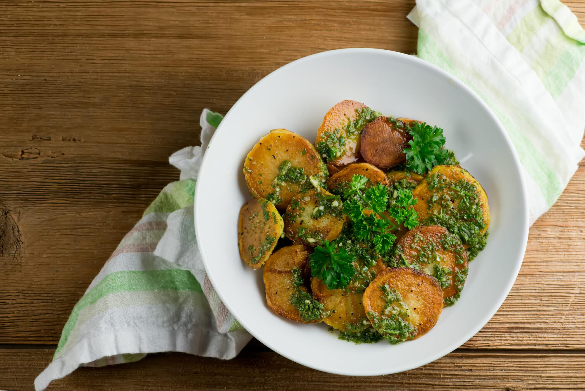 crispy chimichurri potato salad