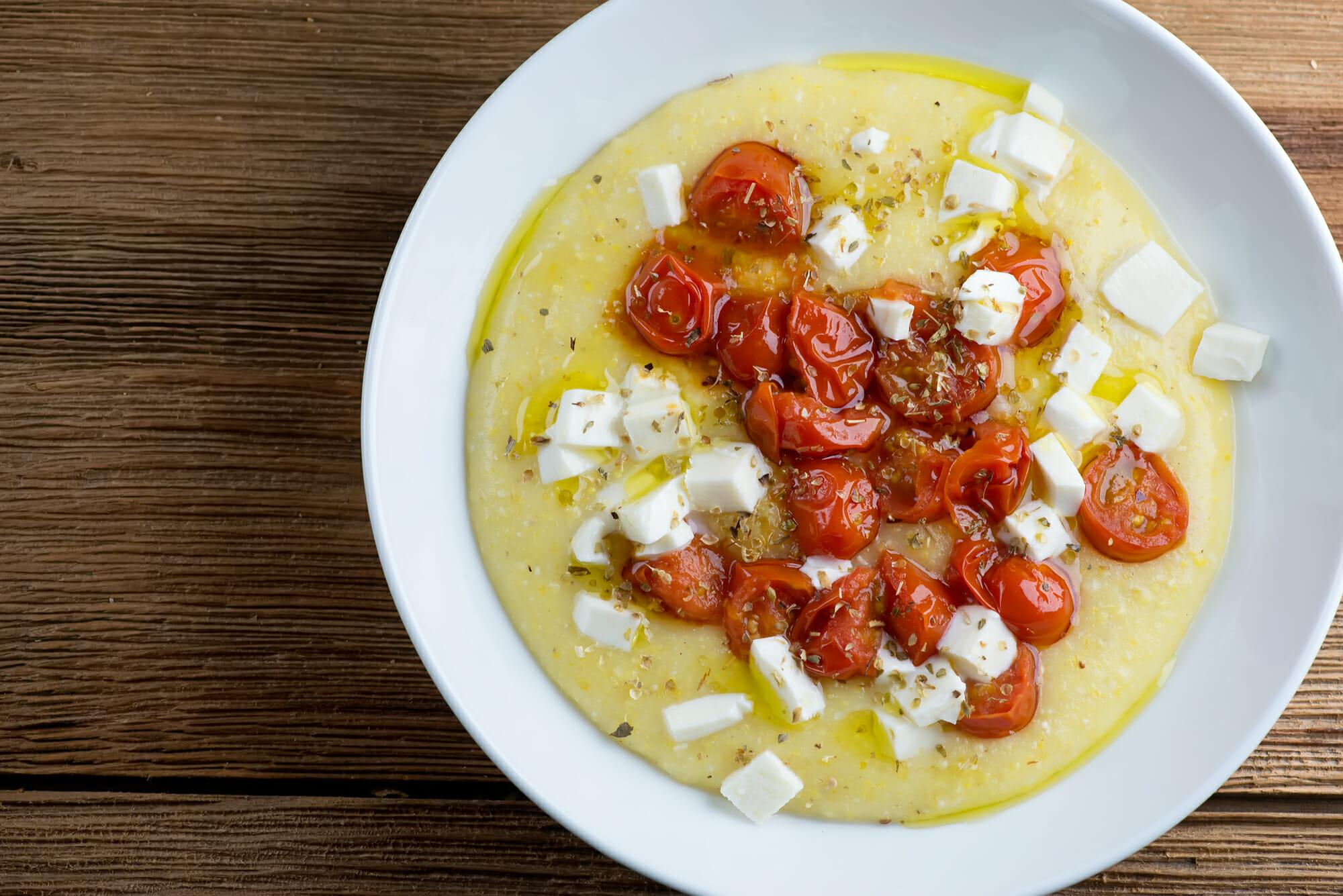 tomato mozzarella polenta