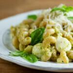 pesto pasta with mozzarella and corn recipe