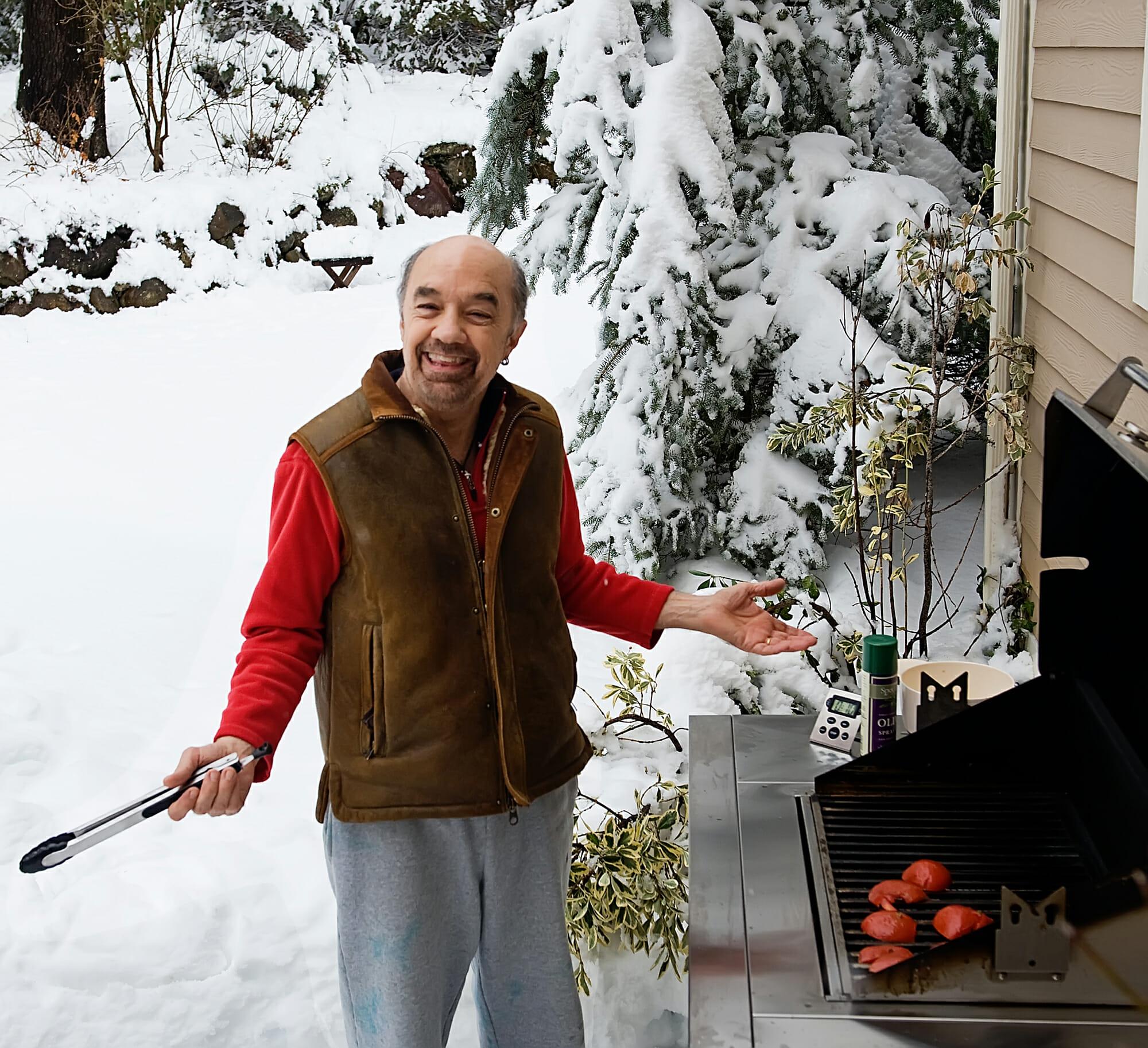 Southern husband grills tomatoes