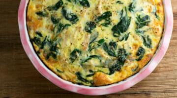 cheesy chicken spinach oven frittata recipe