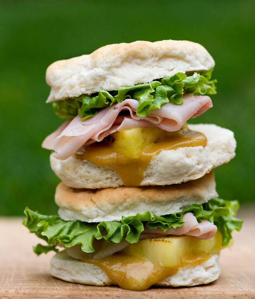 Ham and pineapple biscuit sliders