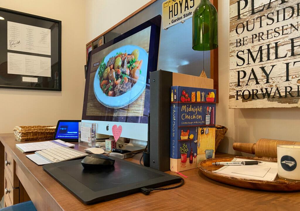 studio desk computer area