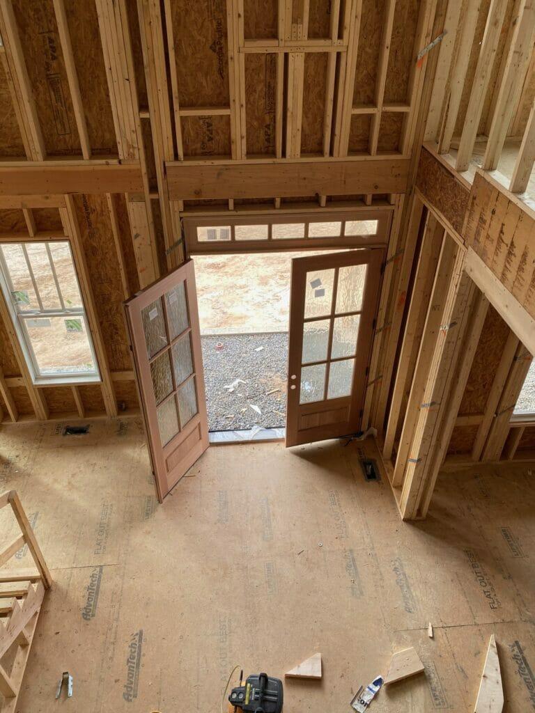 framed house interior