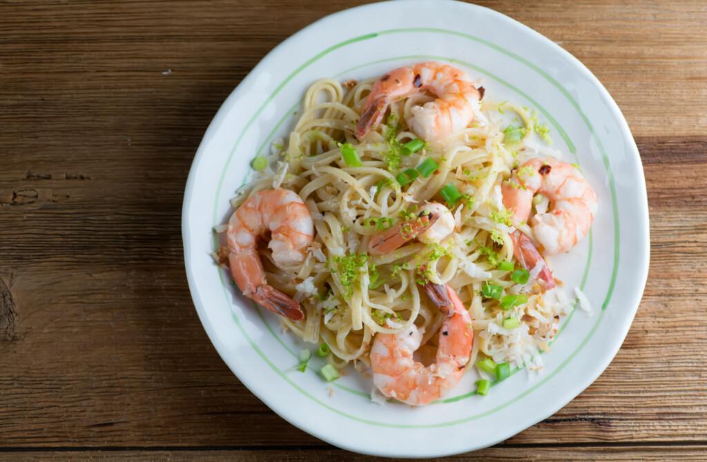 toasted coconut shrimp pasta