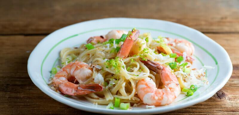 easy toasted coconut shrimp pasta
