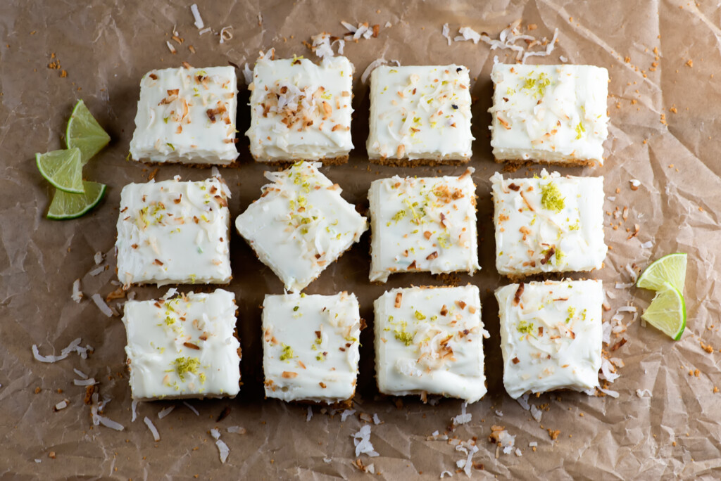 lime coconut cheesecake squares