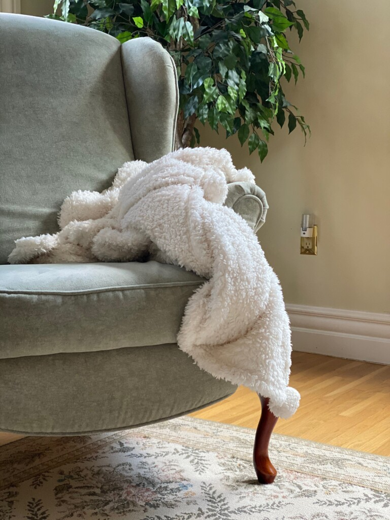 chair with blanket