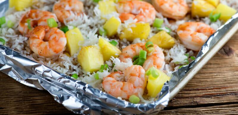 easy sheet pan pineapple shrimp