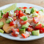 easy roast salmon with avocado salsa