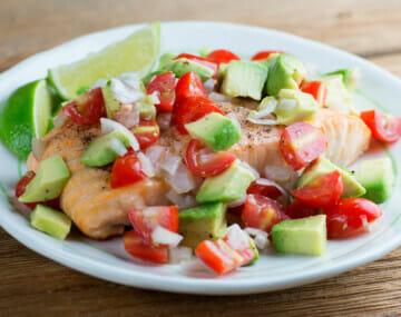 easy roast salmon with avocado salsa