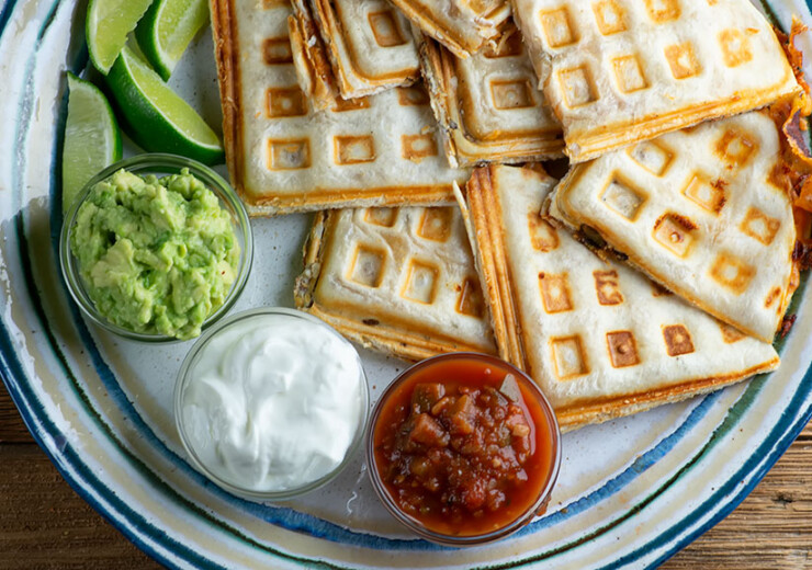 easy waffle iron bacon and cheese quesadillas