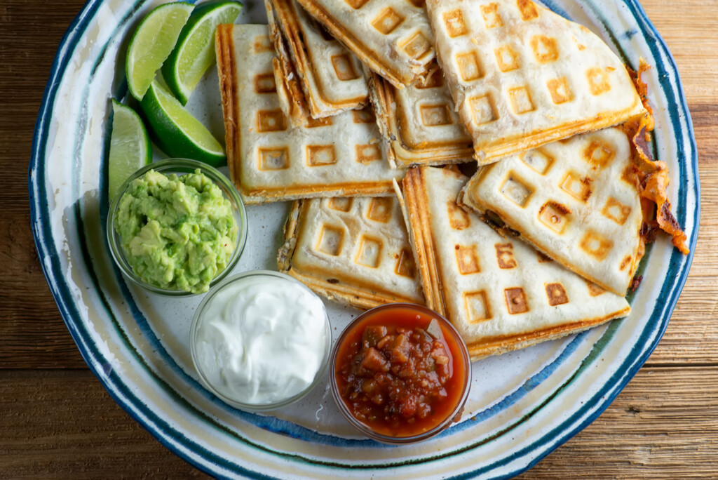 waffle iron bacon and cheese quesadillas