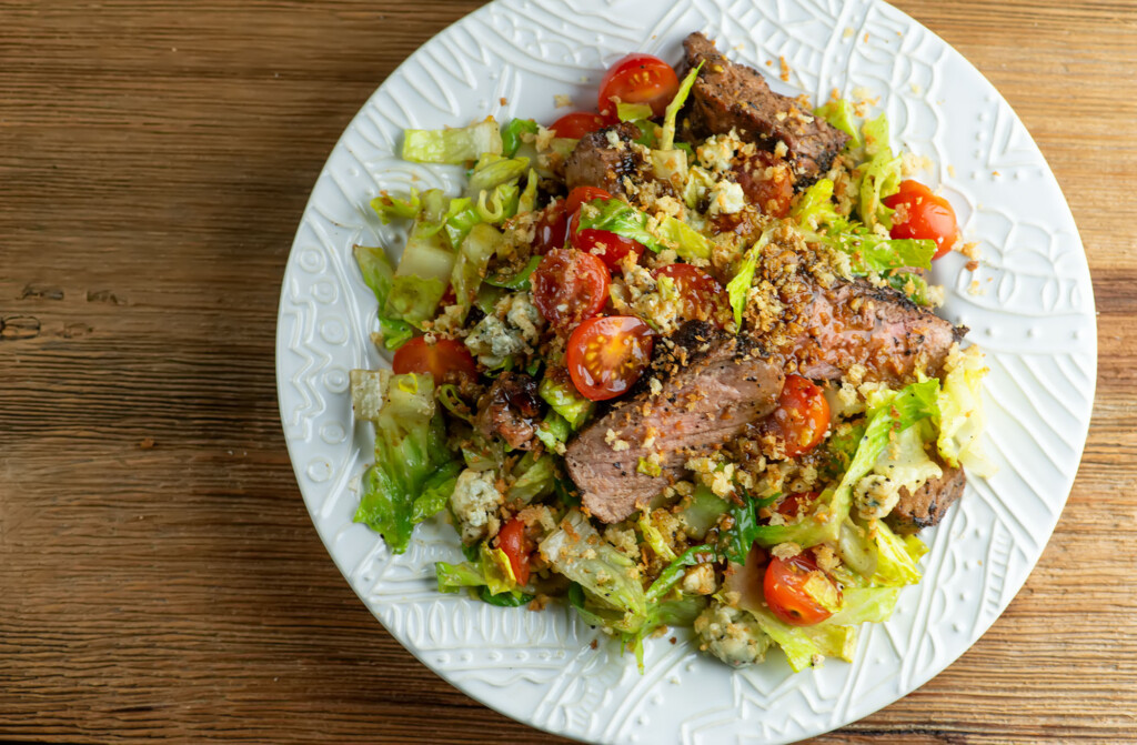 coffee rubbed steak and blue cheese salad