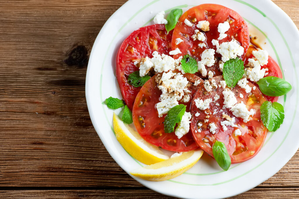 summer tomato salad with feta and herbs