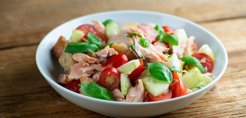 easy salmon panzanella salad