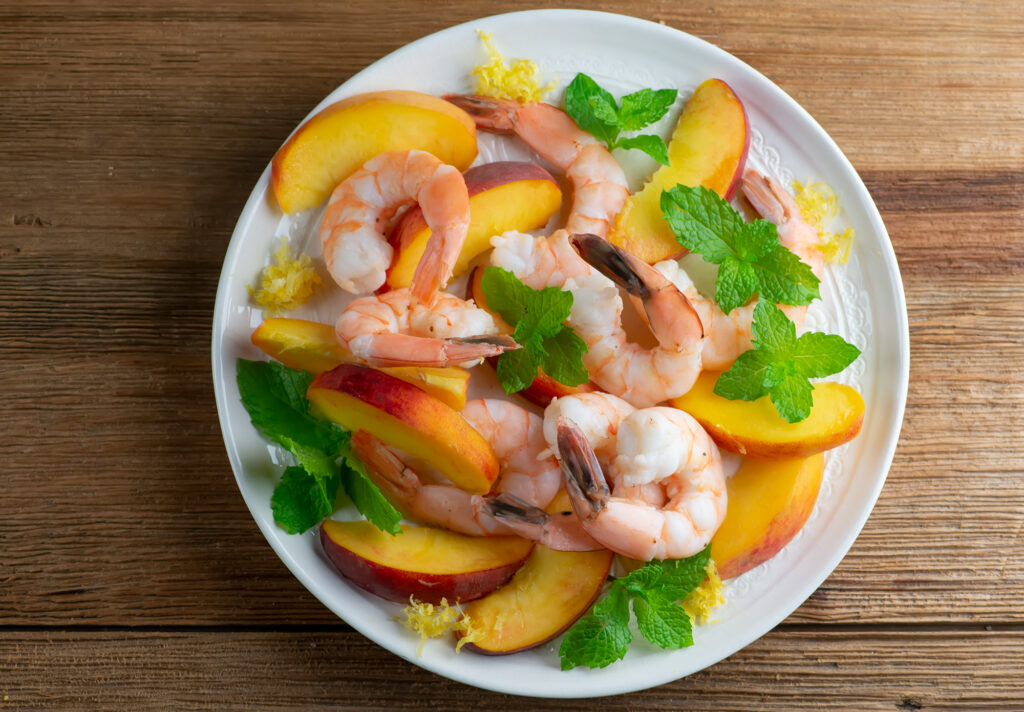 Chilled peach and shrimp salad