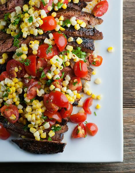grilled steak with fresh corn tomato salsa