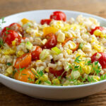 summertime corn tomato barley salad
