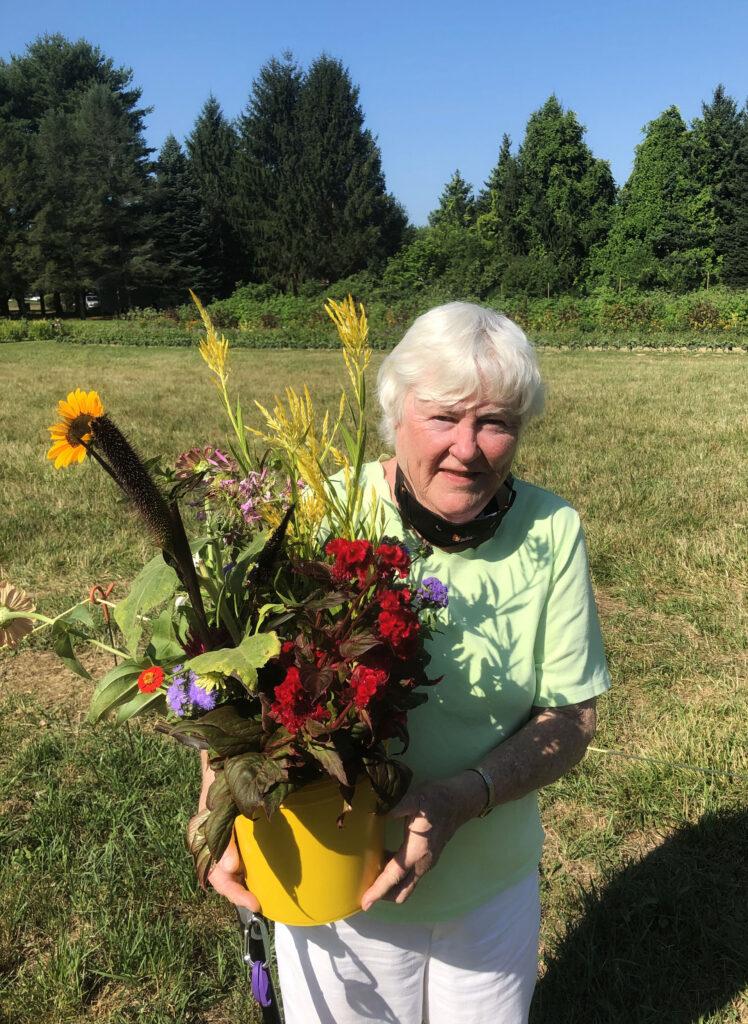 Mama with wildflowers