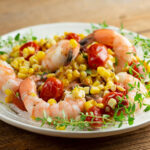 easy charred corn and tomato shrimp salad
