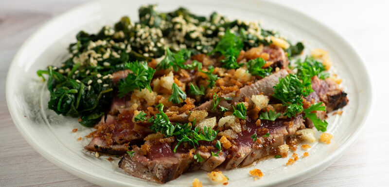 easy mustard maple tuna steaks