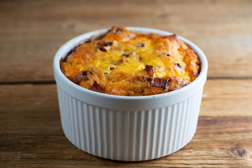 easy cheesy bacon bread pudding