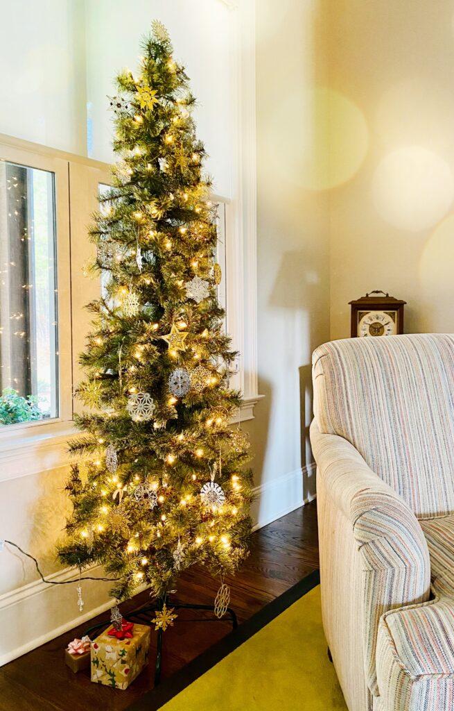 decorated skinny tree