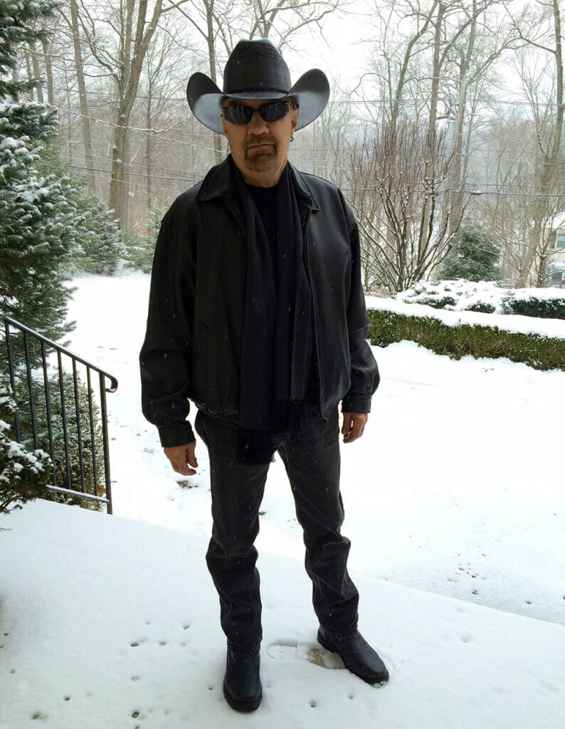 southern husband in the snow