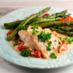 roasted salmon with creamy tomato sauce