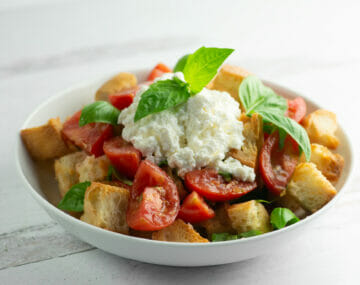 easy ricotta panzanella salad